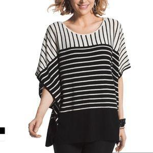 Chico's S/M Sara Striped Poncho Sweater